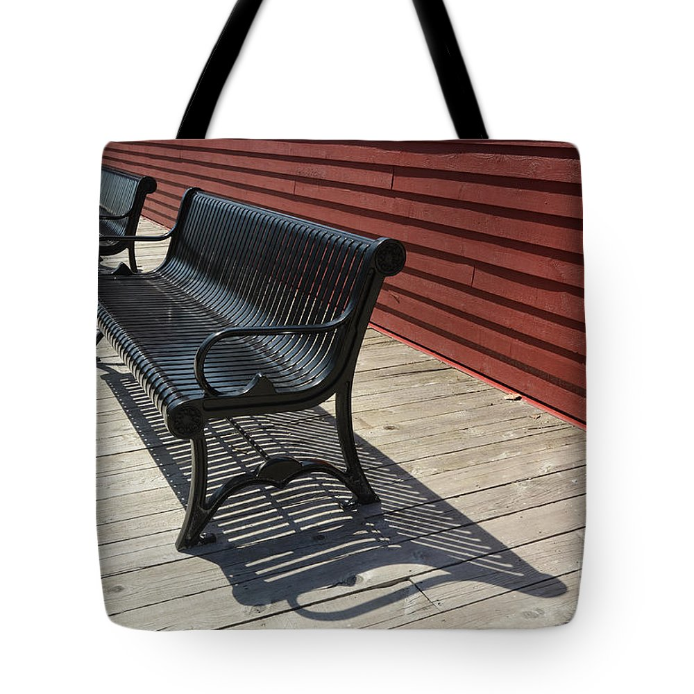 Bench Tote Bag featuring the photograph Bench Lines And Shadows 0841 by Steve Somerville