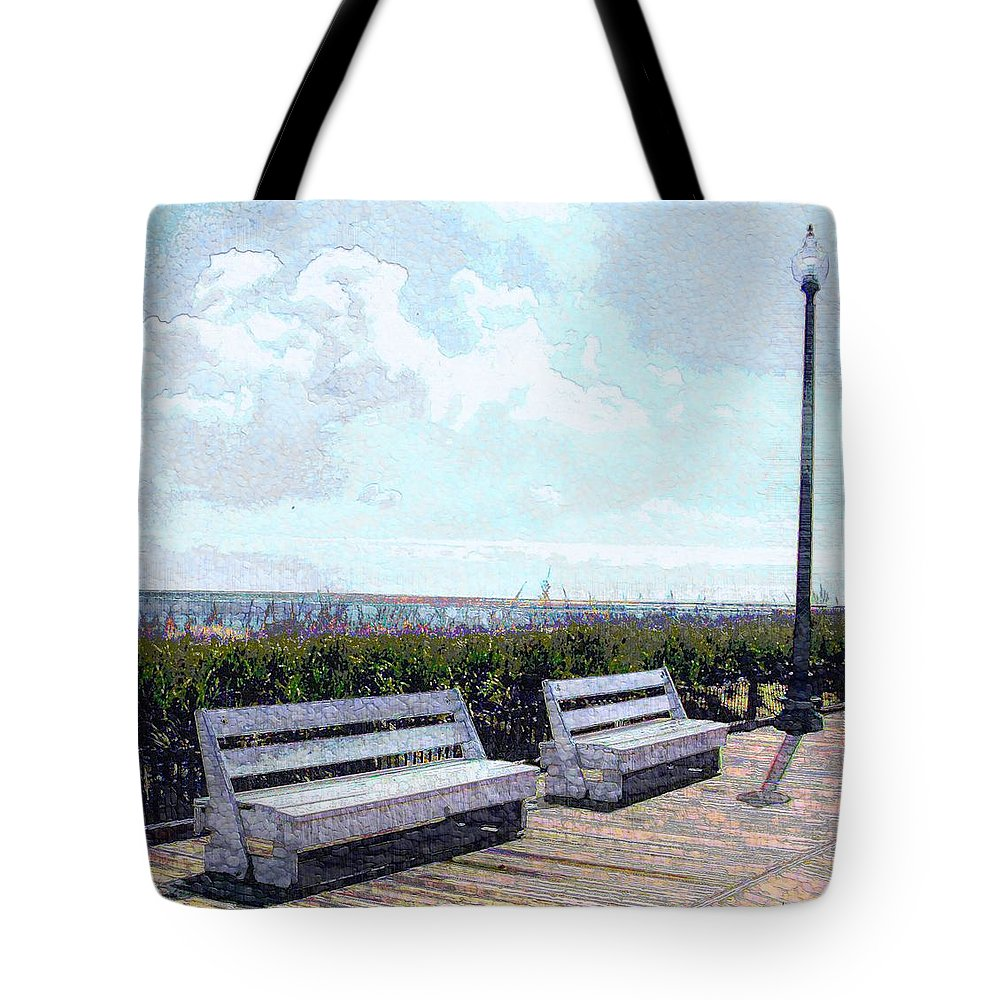 Landscape Tote Bag featuring the photograph Benches Boardwalk And Lamppost 1 by Jeffrey Todd Moore