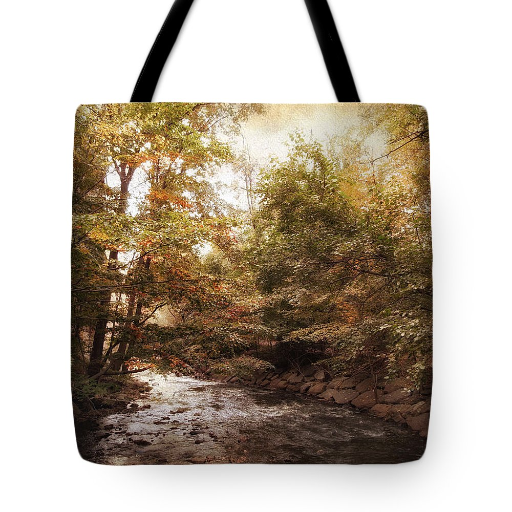 Autumn Tote Bag featuring the photograph Bend In The River by Jessica Jenney