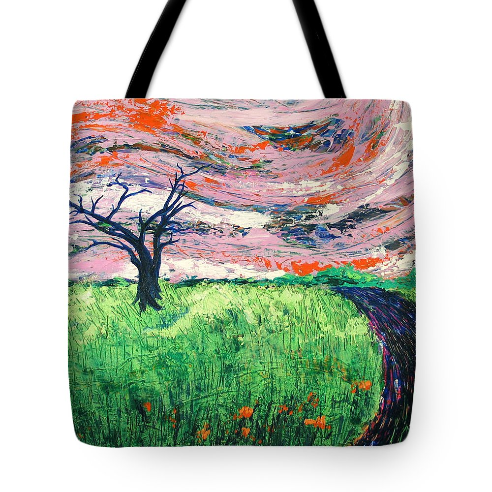Landscape Tote Bag featuring the painting Bend by Rollin Kocsis