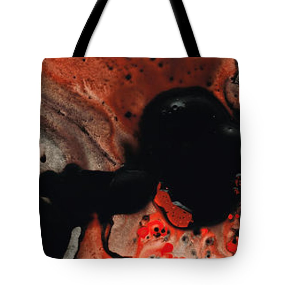 Red Tote Bag featuring the painting Beneath The Fire - Red And Black Painting Art by Sharon Cummings