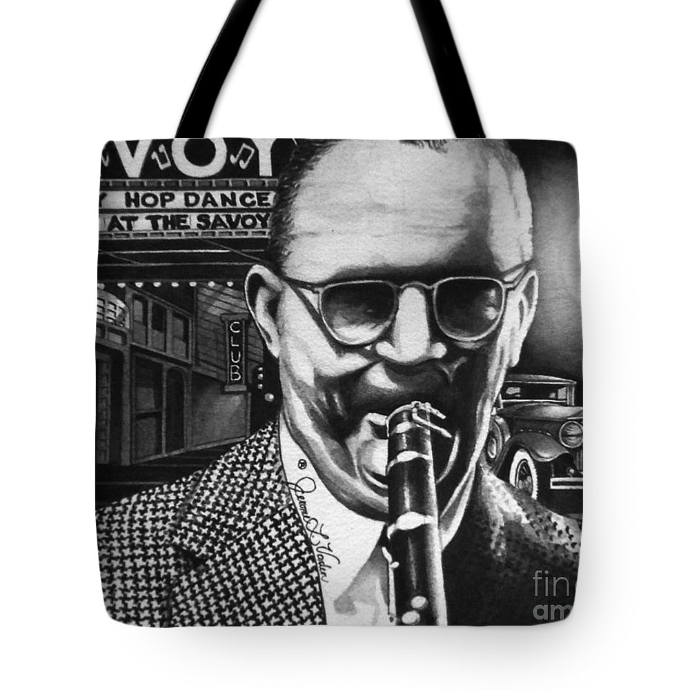 American Jazz Tote Bag featuring the painting Benny Goodman by JL Vaden