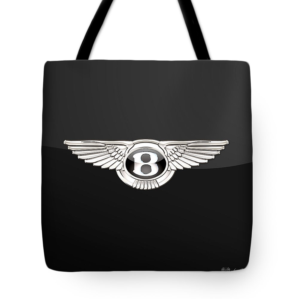 'wheels Of Fortune' By Serge Averbukh Tote Bag featuring the photograph Bentley - 3 D Badge On Black by Serge Averbukh