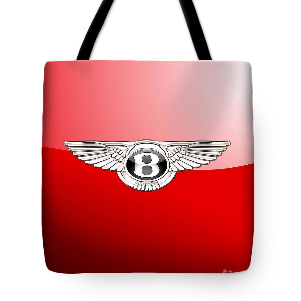 Wheels Of Fortune� Collection By Serge Averbukh Tote Bag featuring the photograph Bentley 3 D Badge on Red by Serge Averbukh