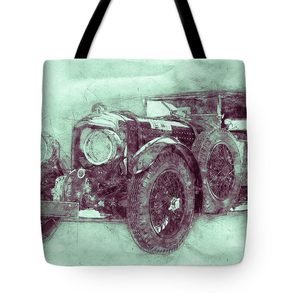 Bentley Blower No.1 Tote Bag featuring the mixed media Bentley Blower No.1 - Sports Car 3 - Automotive Art - Car Posters by Studio Grafiikka