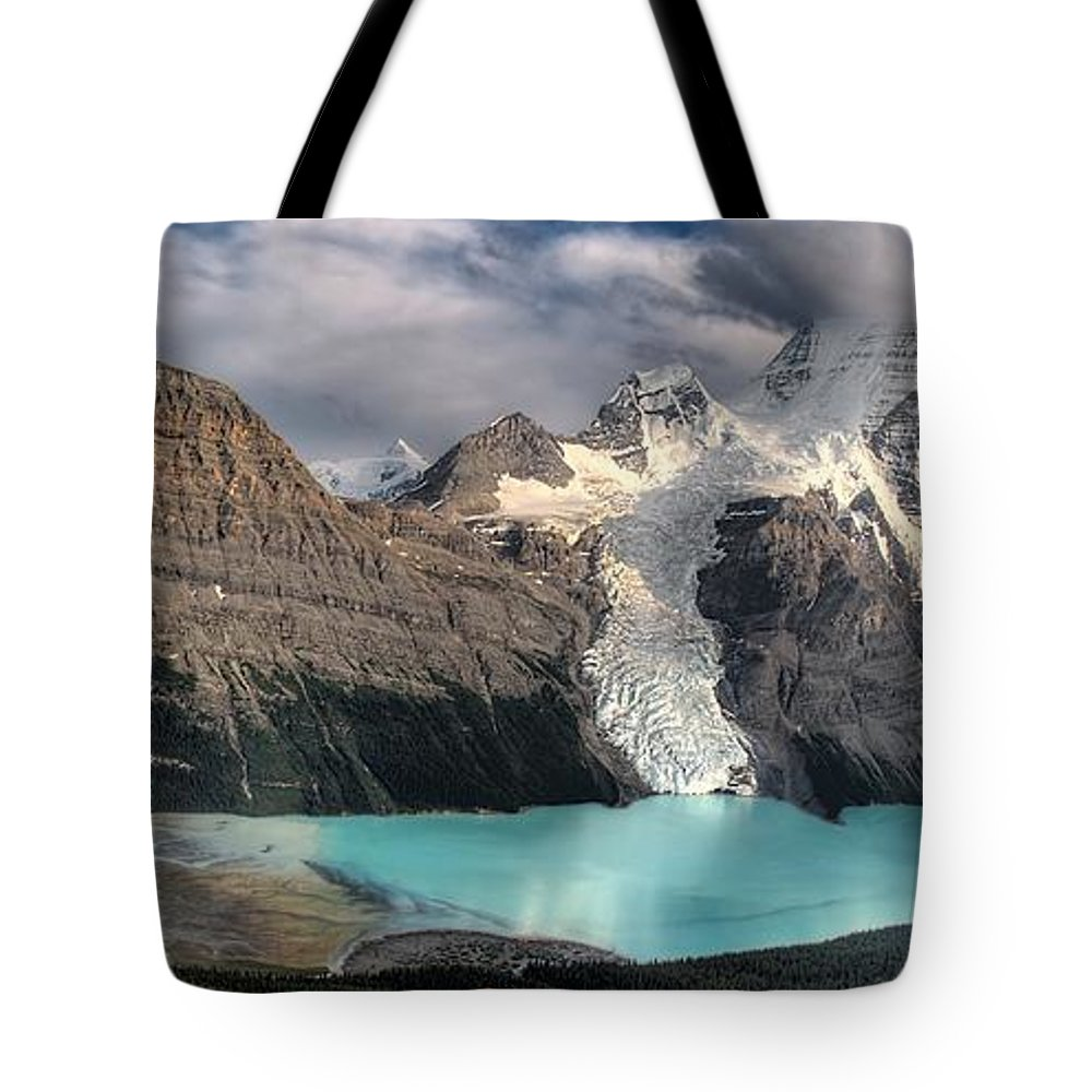 Berg Lake Tote Bag featuring the photograph Berg Lake, Mount Robson Provincial Park by Clarke Wiebe