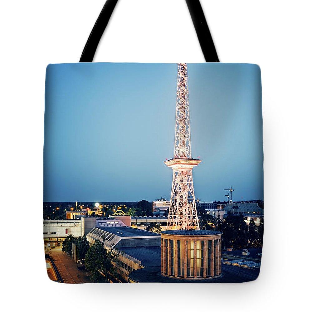 Berlin Tote Bag featuring the photograph Berlin - Funkturm by Alexander Voss