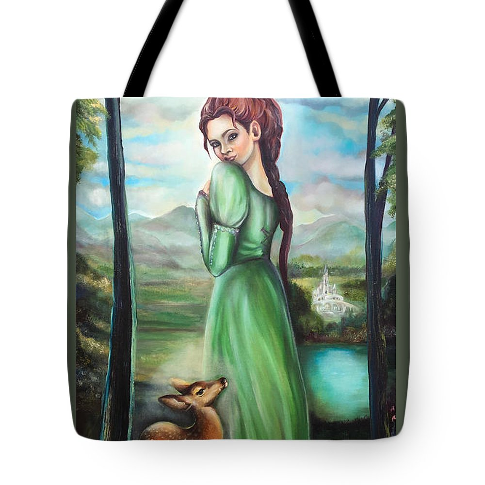 Bernadette Tote Bag featuring the painting Bernadette And A Fawn by Nino Ponditerra