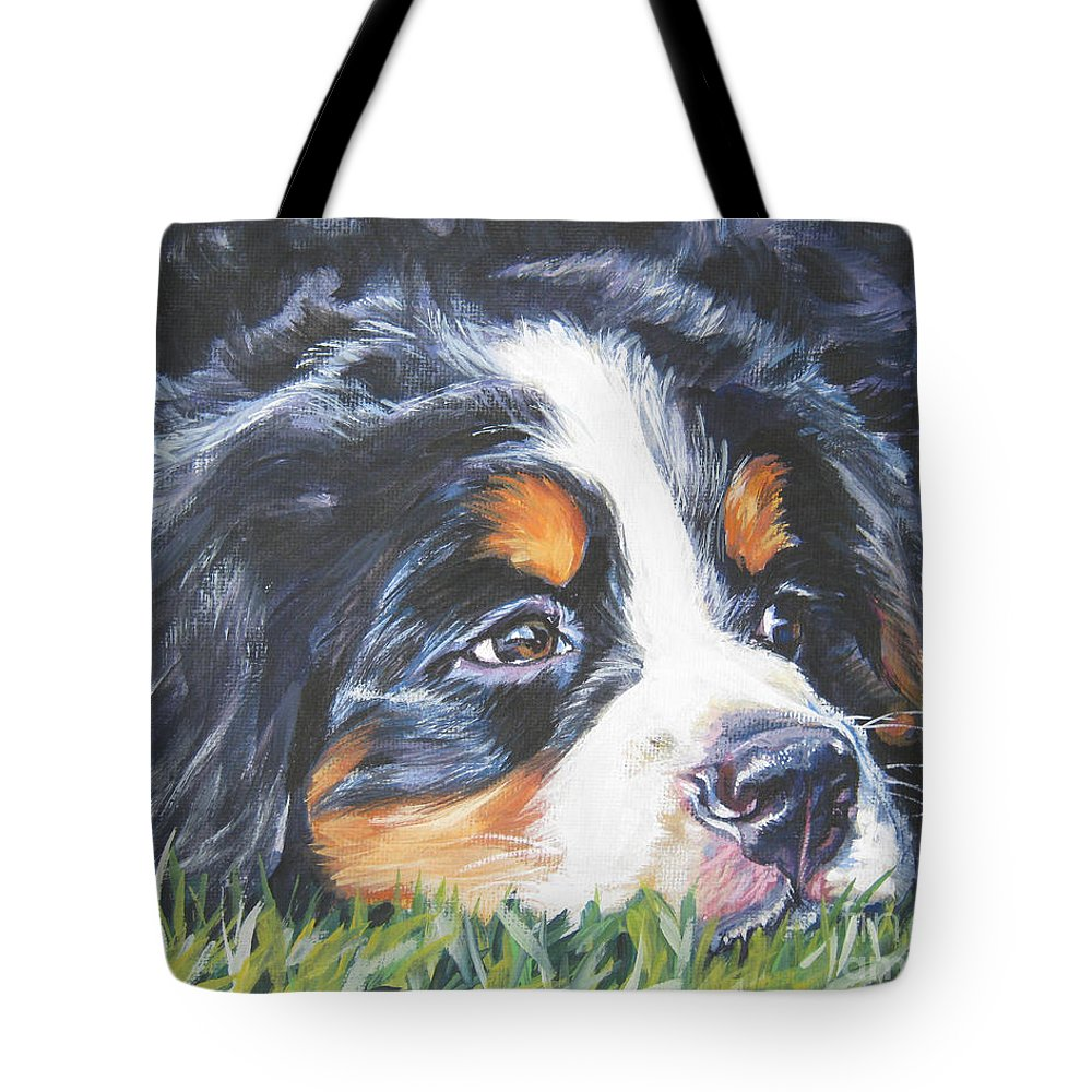 Bernese Mountain Dog Tote Bag featuring the painting Bernese Mountain Dog In Grass by Lee Ann Shepard