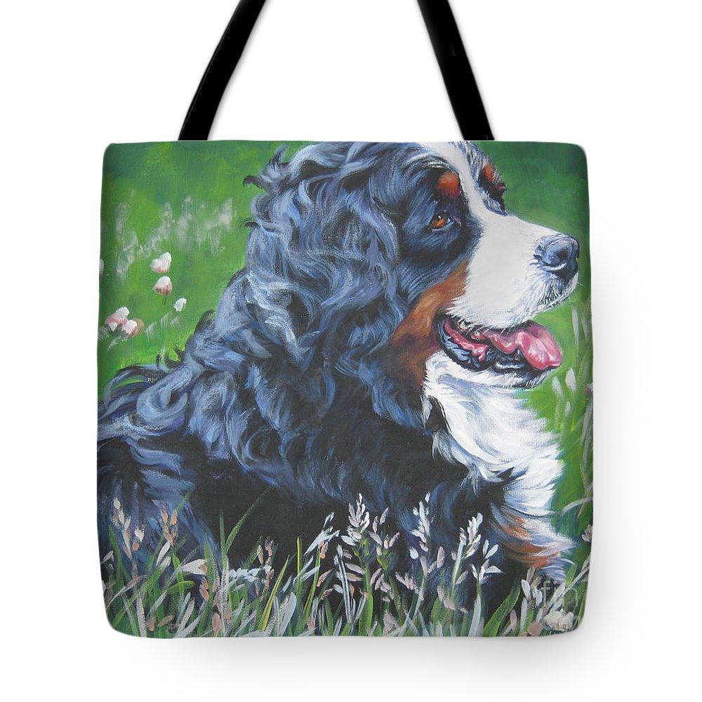 Bernese Mountain Dog Tote Bag featuring the painting Bernese Mountain Dog In Wildflowers by Lee Ann Shepard