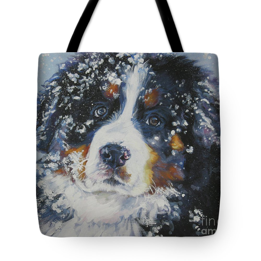 Bernese Mountain Dog Tote Bag featuring the painting Bernese Mountain Dog Puppy by Lee Ann Shepard