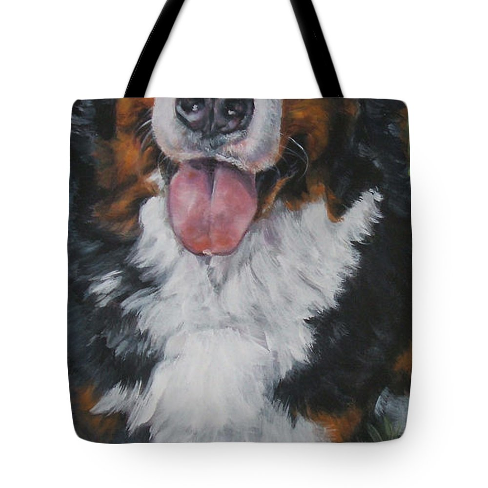 Bernese Mountain Dog Tote Bag featuring the painting Bernese Mountain Dog Standing by Lee Ann Shepard