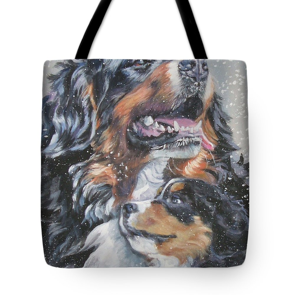 Bernese Mountain Dog Tote Bag featuring the painting Bernese Mountain Dog With Pup by Lee Ann Shepard