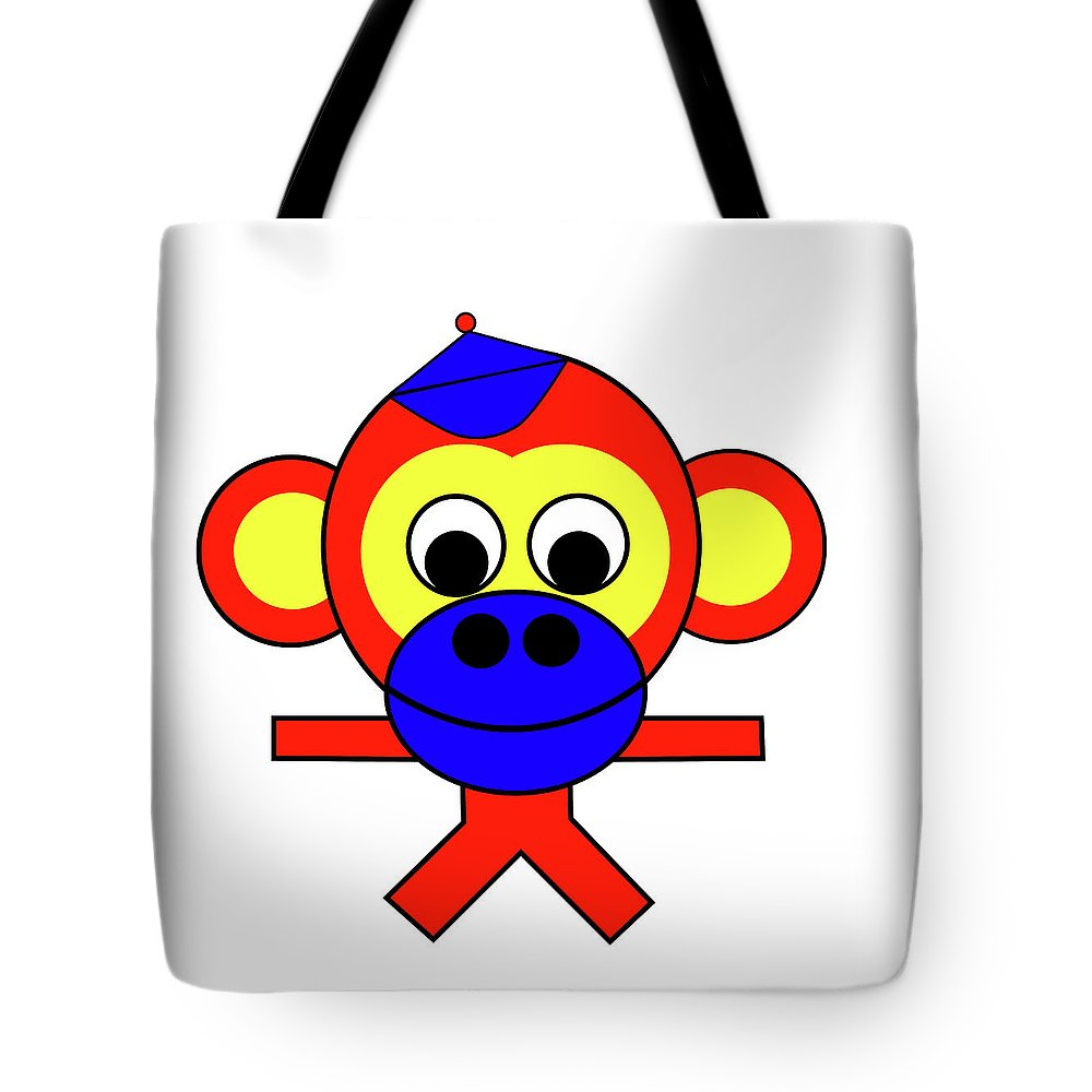Bernhard The Monkey Tote Bag featuring the digital art Bernhard the Monkey by Asbjorn Lonvig