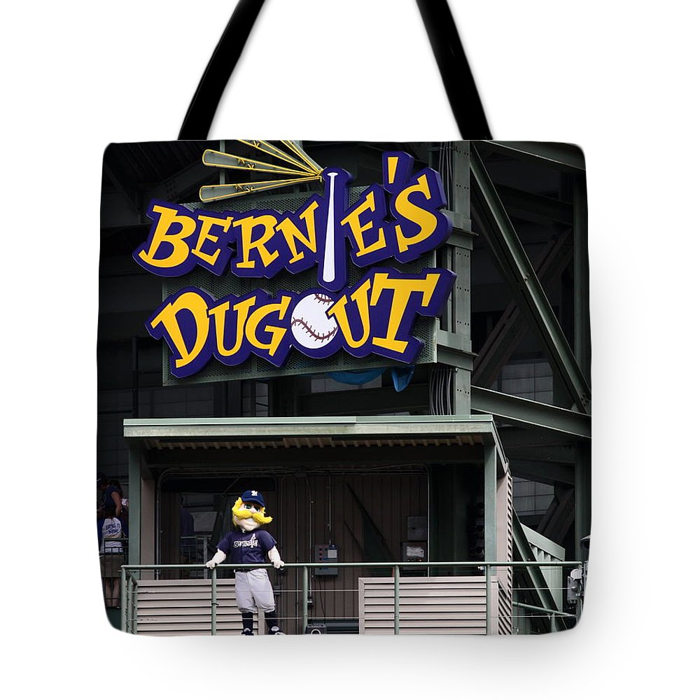 Milwaukee Brewers Tote Bag featuring the photograph Bernies Dugout by Steve Bell