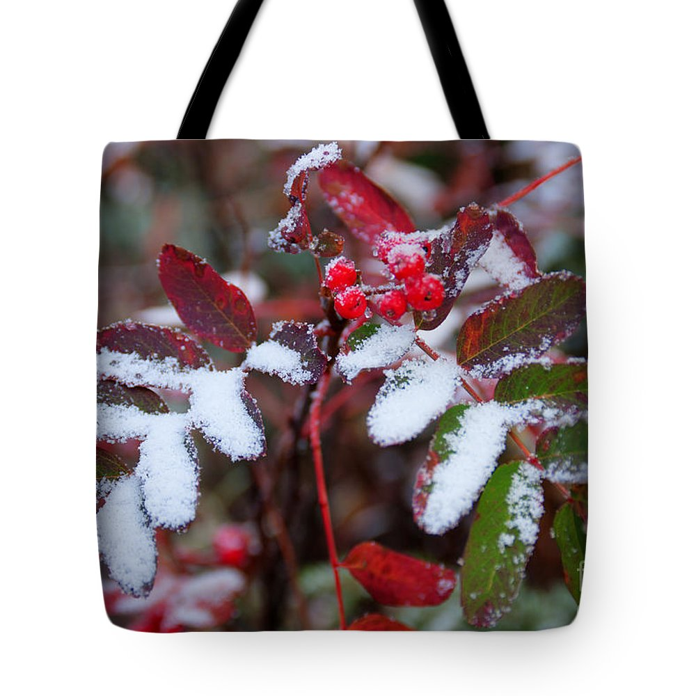 Berry Tote Bag featuring the photograph Berries And Snow by Idaho Scenic Images Linda Lantzy