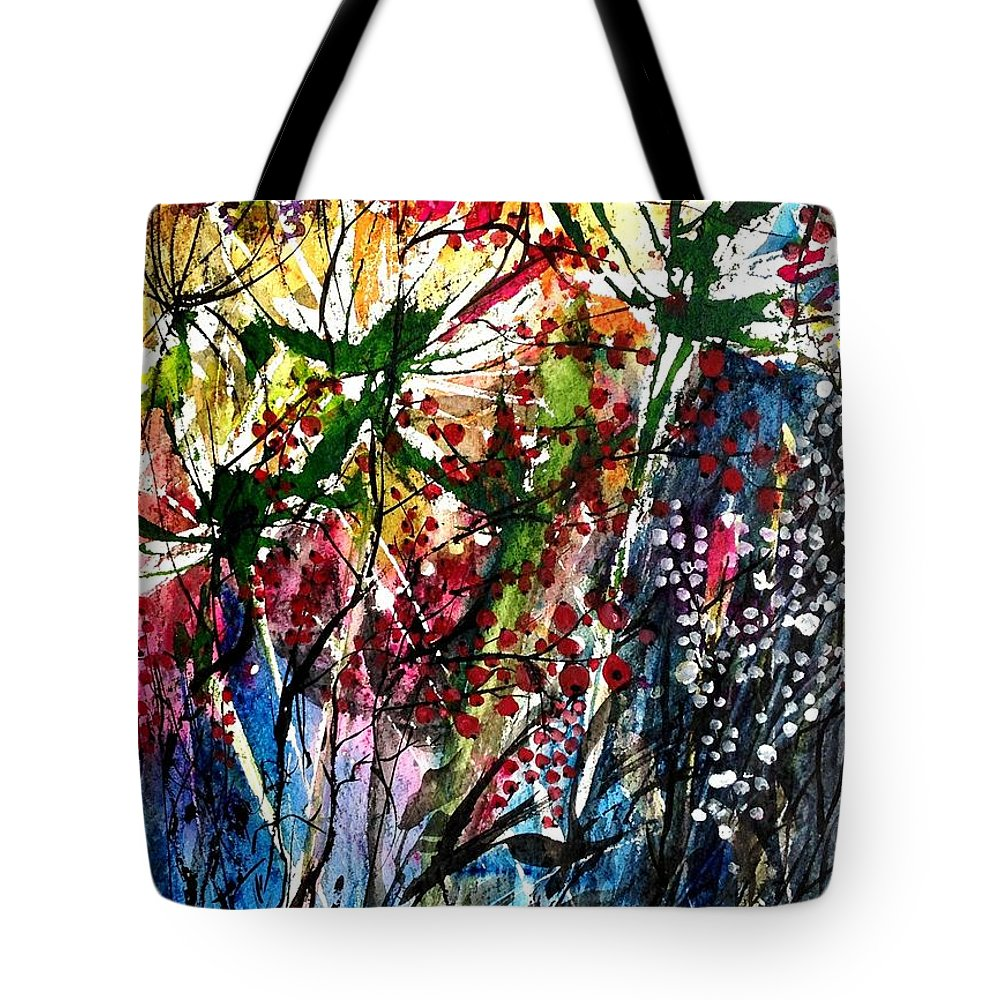 Mixed Media Abstract Painting Tote Bag featuring the painting Berries Over Flowers by Garima Srivastava
