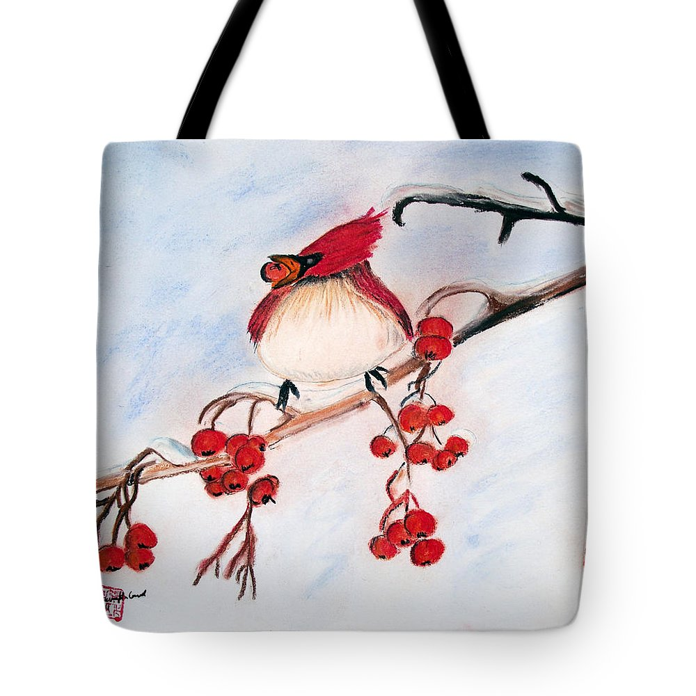 Cardinals Tote Bag featuring the pastel Berry Good by Arlene Wright-Correll