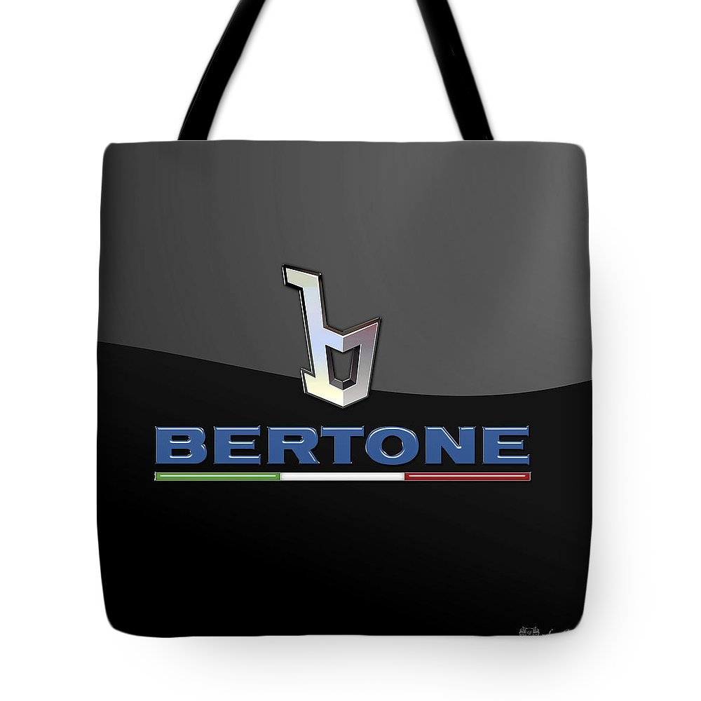 'auto Badges' Collection By Serge Averbukh Tote Bag featuring the photograph Bertone - 3 D Badge On Black by Serge Averbukh