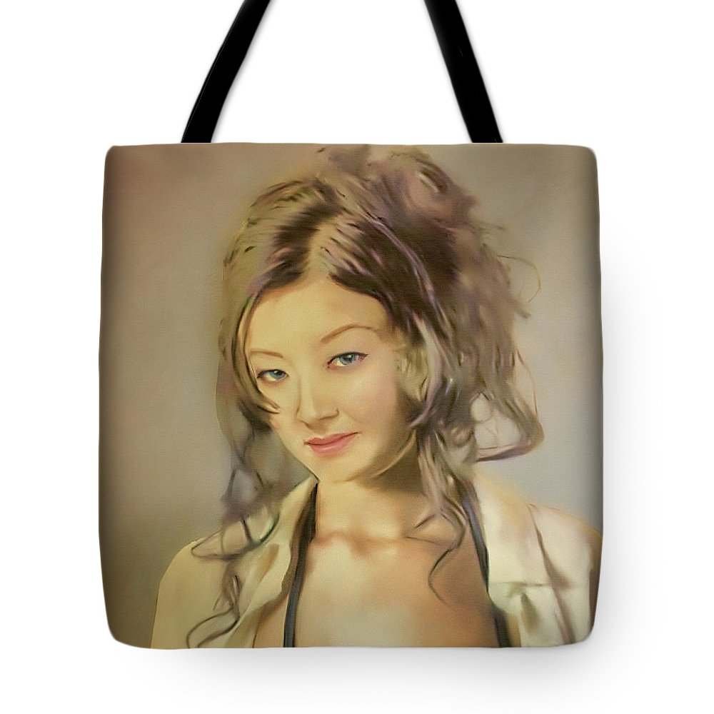 Salome Tote Bag featuring the painting Bessie by Salome Hooper