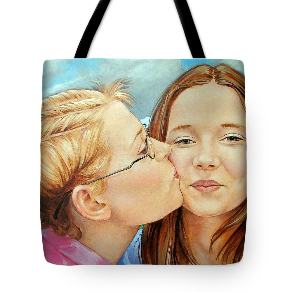 Best Friends Tote Bag featuring the painting Best Buds by Jerrold Carton