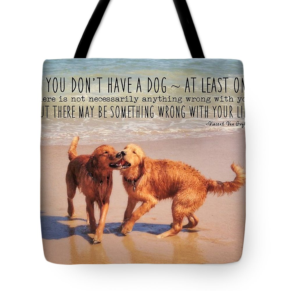 Dog Tote Bag featuring the photograph Best Buds Quote by JAMART Photography