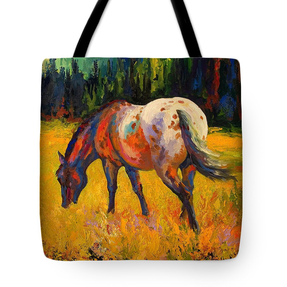 Horses Tote Bag featuring the painting Best End Of An Appy by Marion Rose