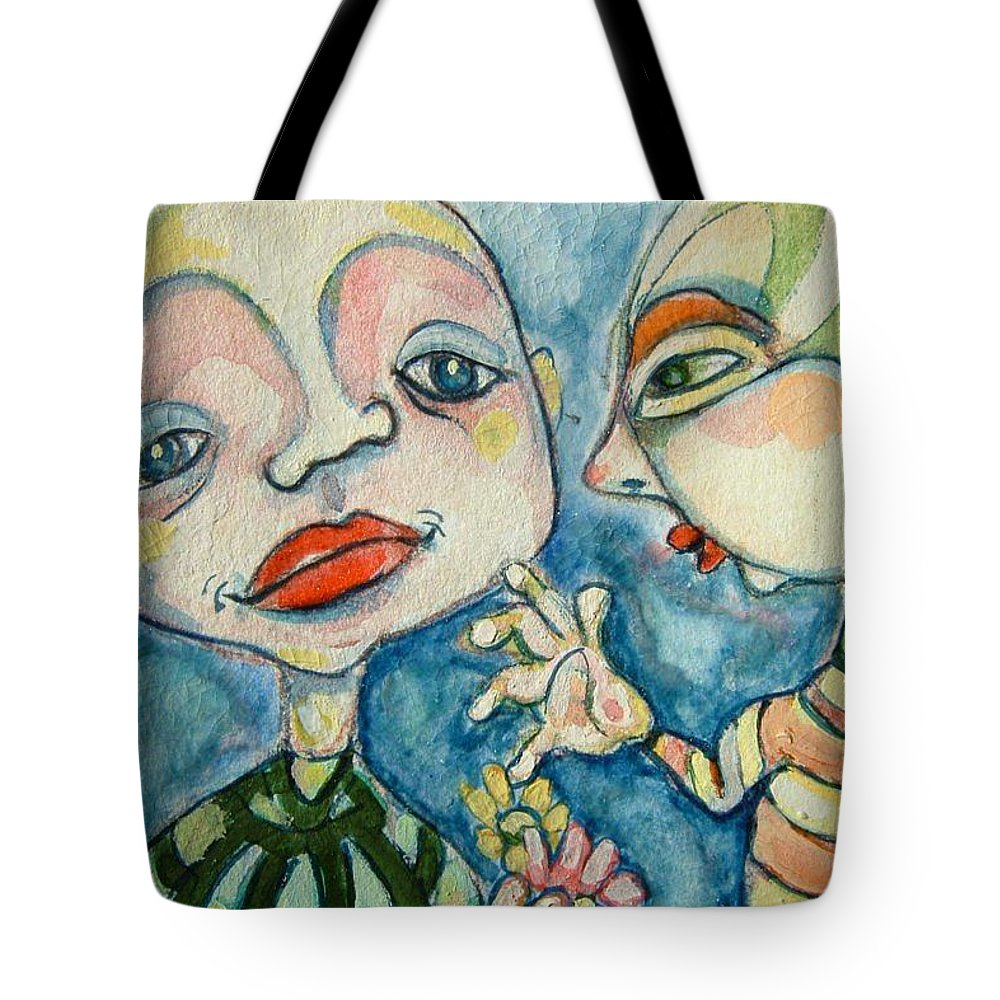 Circle Head Tote Bag featuring the painting Best Friends 1 by Michelle Spiziri