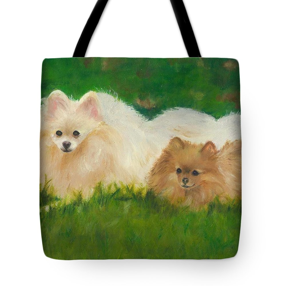 Dogs Tote Bag featuring the painting Best Friends by Paula Emery