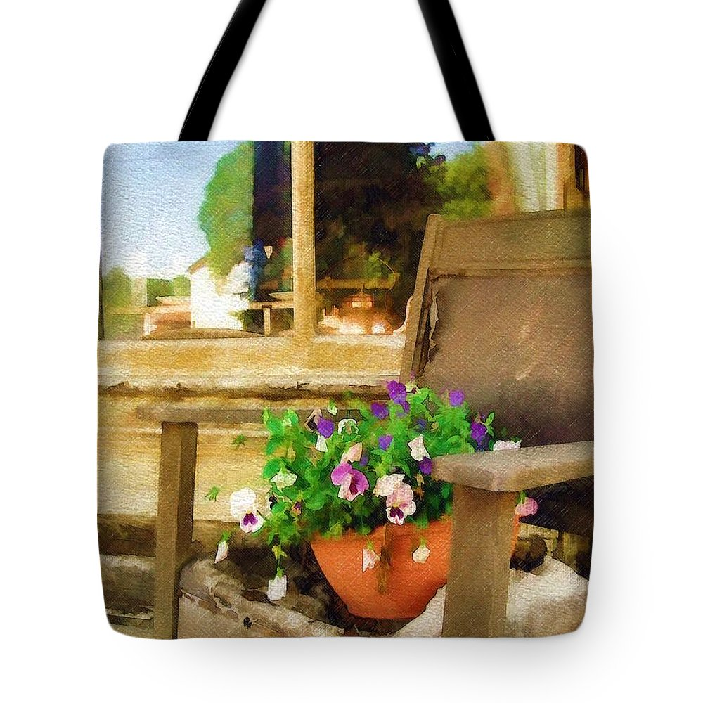 Pansies Tote Bag featuring the photograph Best Seat In The House by Sandy MacGowan