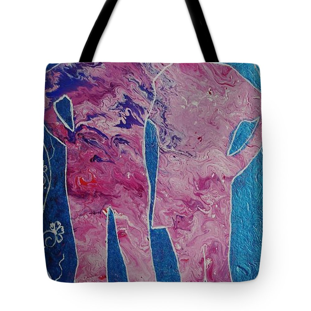 Girls Tote Bag featuring the painting Besties by Lori Kingston