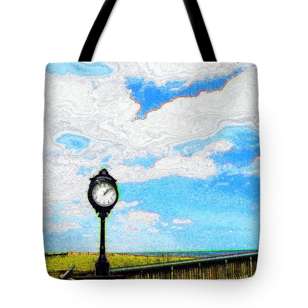 Photograph Tote Bag featuring the photograph Bethany Beach Clock by Jeffrey Todd Moore