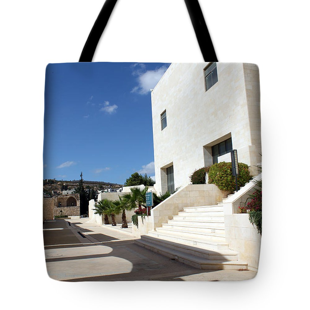 Photographs Tote Bag featuring the photograph Bethlehem - Convention Palace South Entrance by Munir Alawi