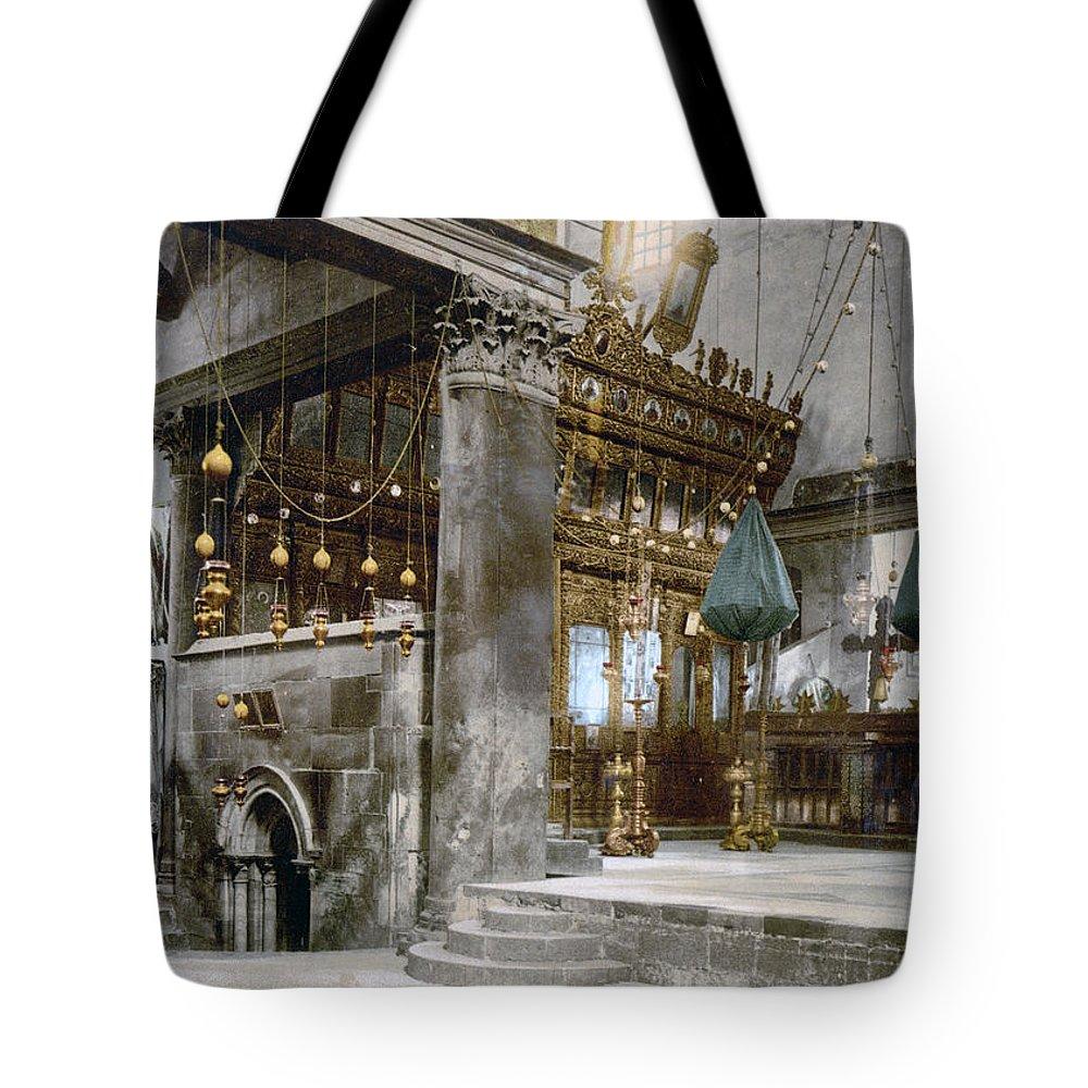 Nativity Tote Bag featuring the photograph Bethlehem - Inside Nativity Church 1890 by Munir Alawi