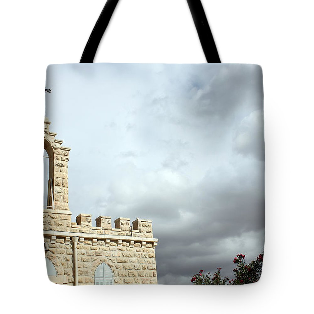 Bethlehem Tote Bag featuring the photograph Bethlehem - Milk Grotto Cross by Munir Alawi