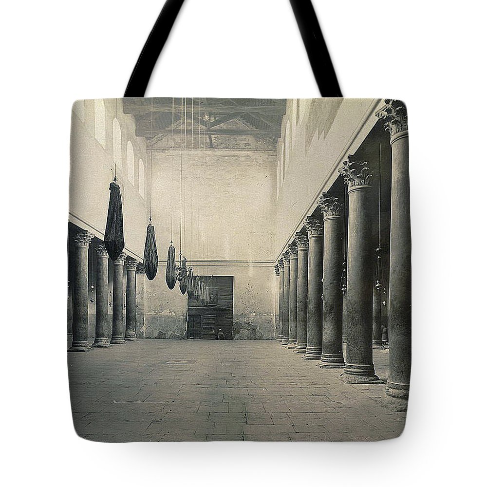 Bethlehem Tote Bag featuring the photograph Bethlehem - Nativity Church Year 1867 by Munir Alawi