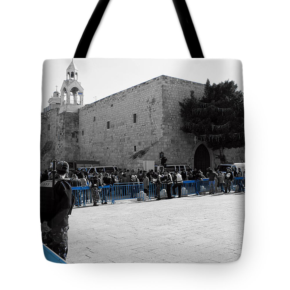 Bethlehem Tote Bag featuring the photograph Bethlehem - Nativity Square by Munir Alawi