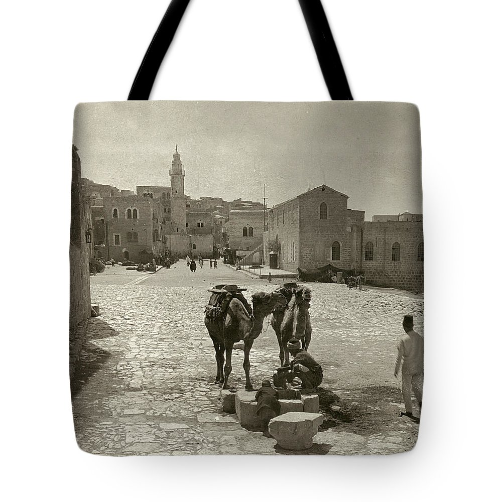 1911 Tote Bag featuring the photograph Bethlehem: Street, C1911 by Granger