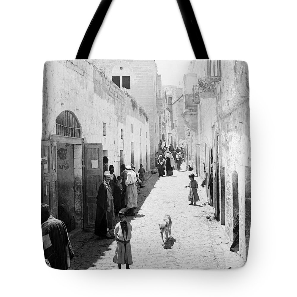 Bethlehem Tote Bag featuring the photograph Bethlehem The Main Street 1800s by Munir Alawi