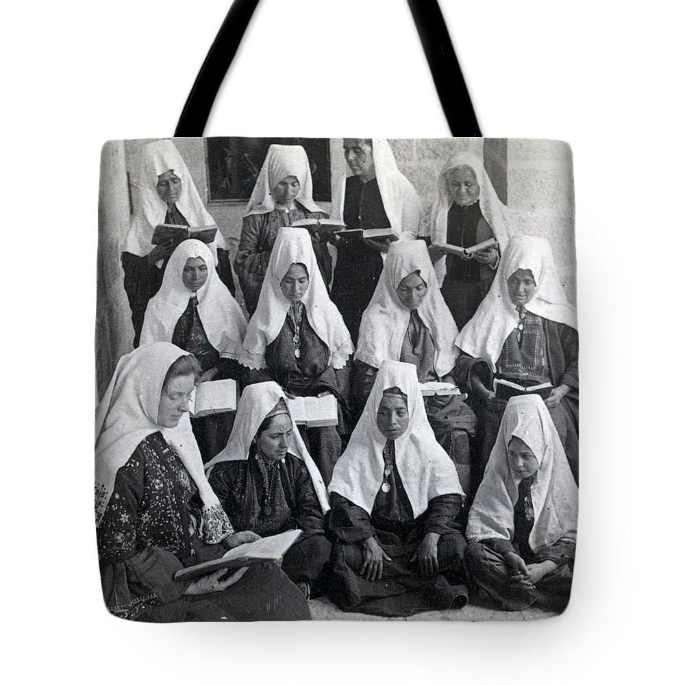 Bethlehem Tote Bag featuring the photograph Bethlehem Women School 1900s by Munir Alawi