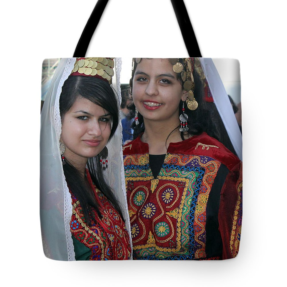 Bethlehem Tote Bag featuring the photograph Bethlehem Young Girls by Munir Alawi