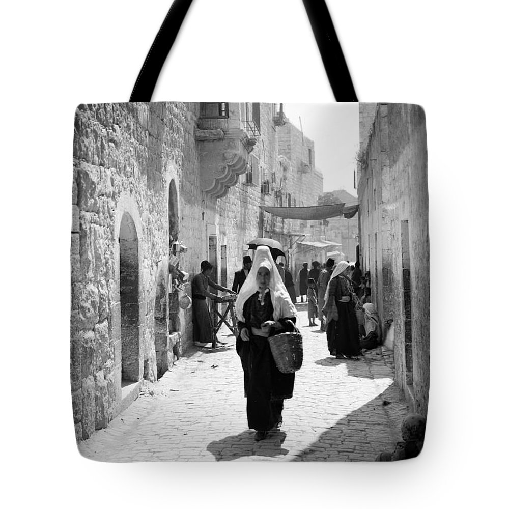 Bethlehem Tote Bag featuring the photograph Bethlehemite Going To The Market by Munir Alawi