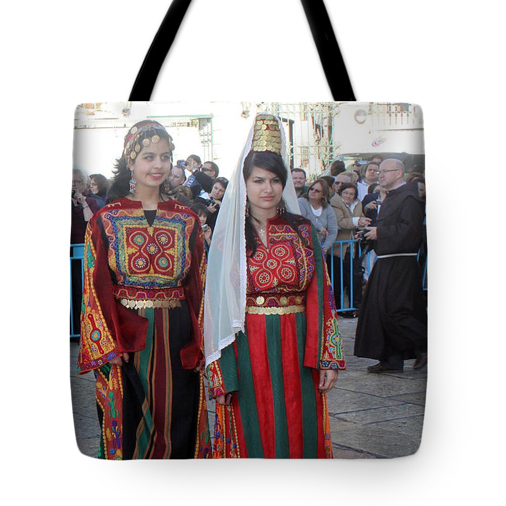 Christmas Tote Bag featuring the photograph Bethlehemites In Traditional Dress by Munir Alawi