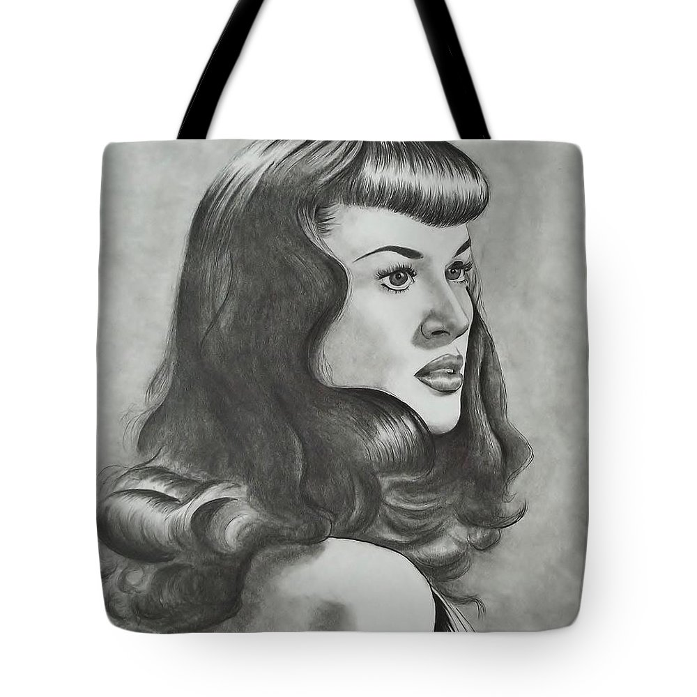 The Notorious Betty Page Tote Bag featuring the drawing Betty Page by Lise PICHE