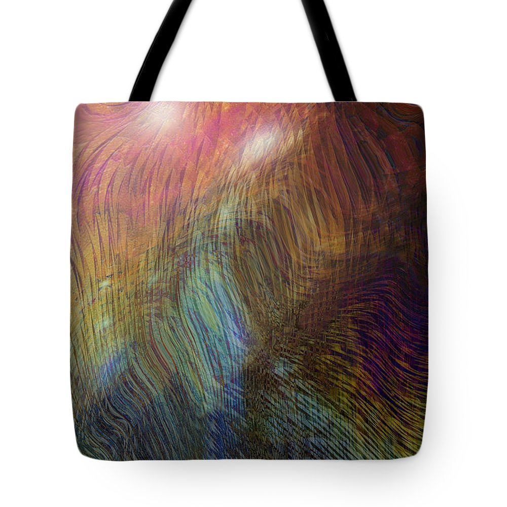 Abstract Art Tote Bag featuring the digital art Between The Lines by Linda Sannuti