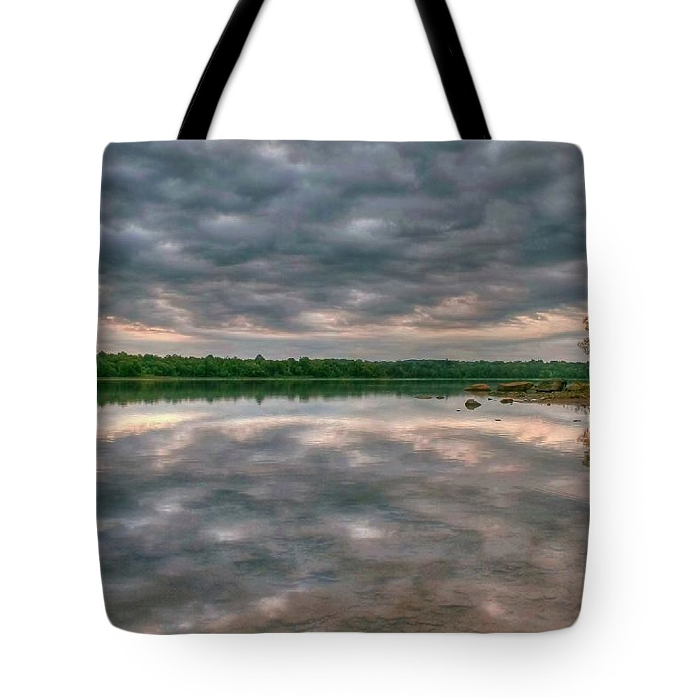 Landscape Tote Bag featuring the photograph Between Two Mental Waves by Mitch Cat