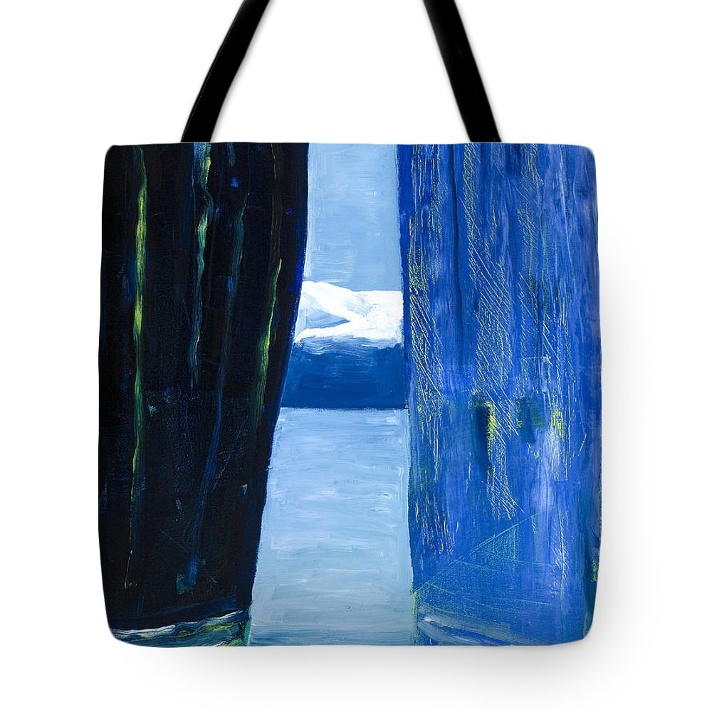Landscape Tote Bag featuring the painting Between Two Mountains. by Jarle Rosseland