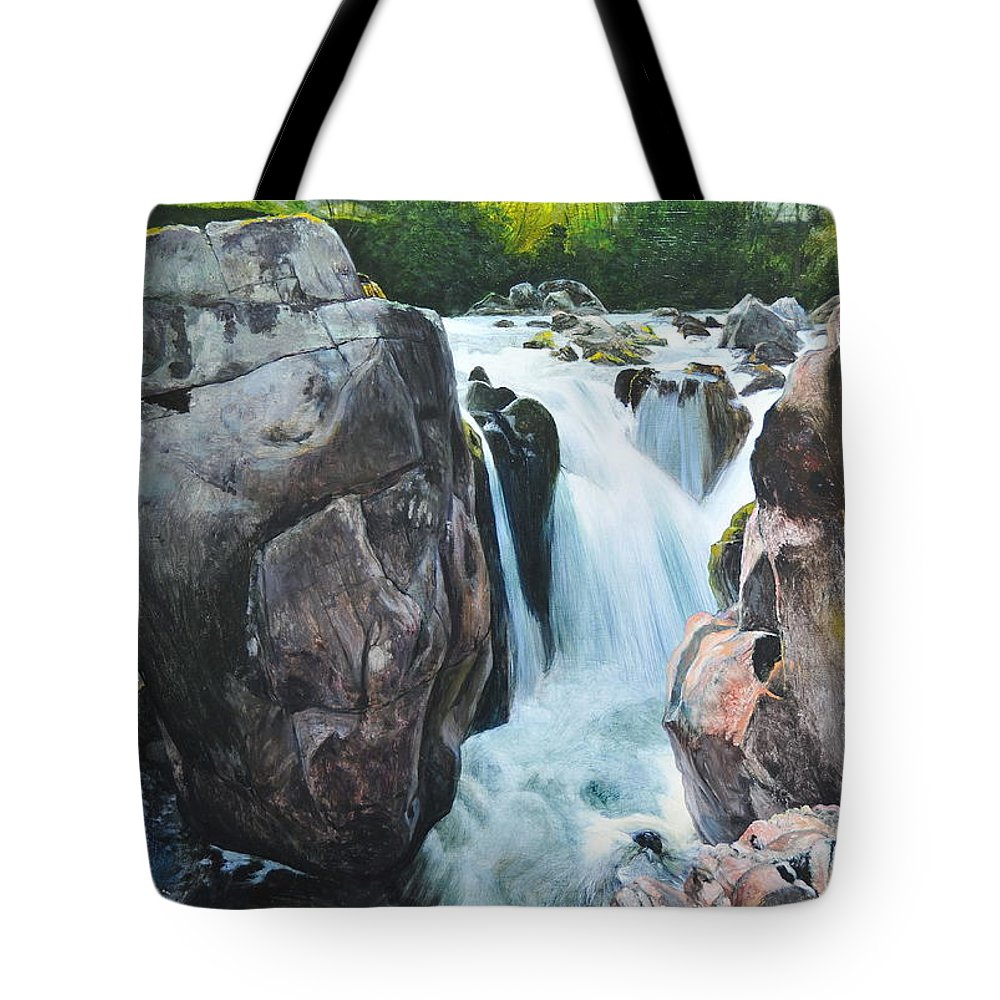 Wales Tote Bag featuring the painting Betws-y-coed Waterfall In North Wales by Harry Robertson