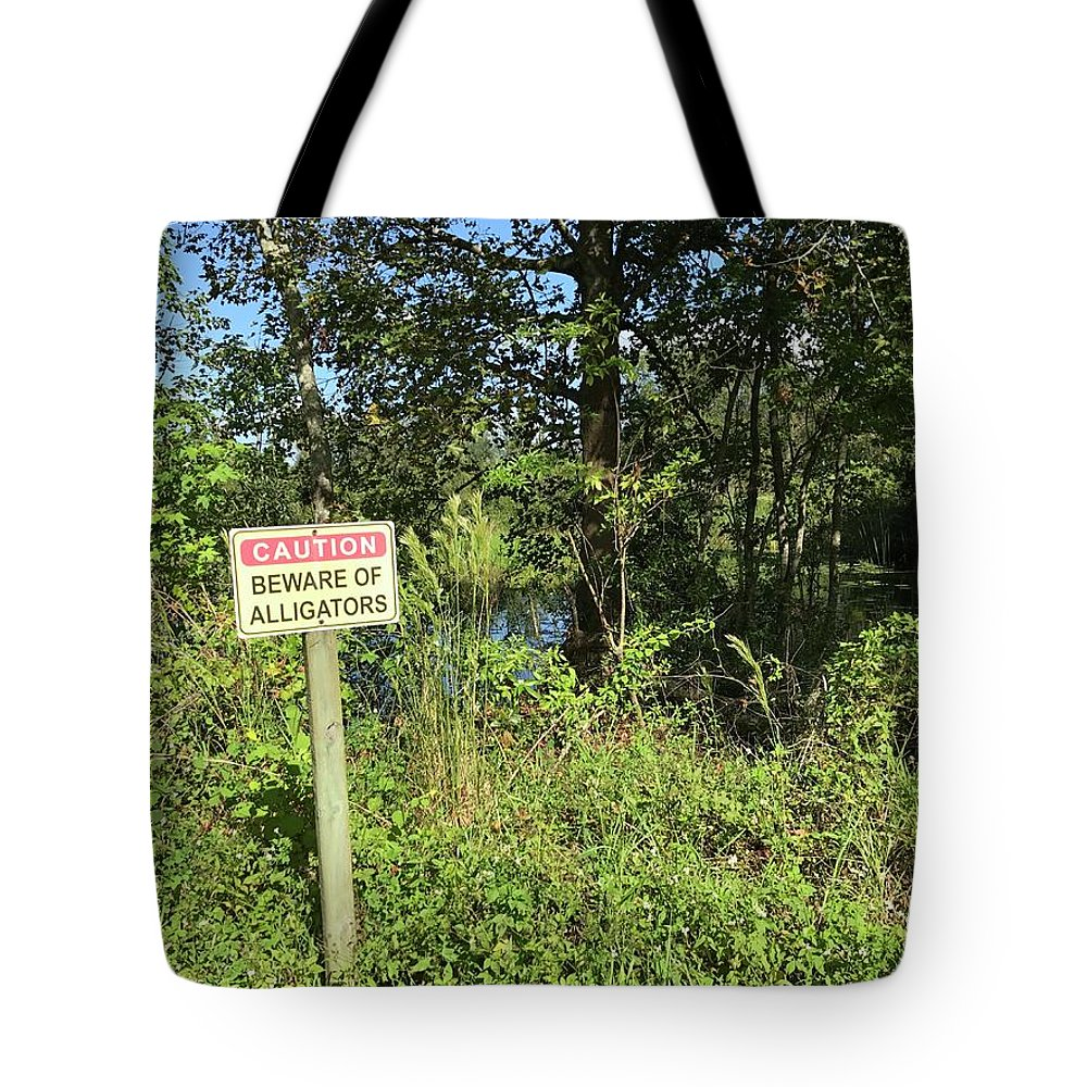 Beware Of Gator Florida Tropical Forest Swamp Tote Bag featuring the photograph Beware Of Gator by Lee Barrett
