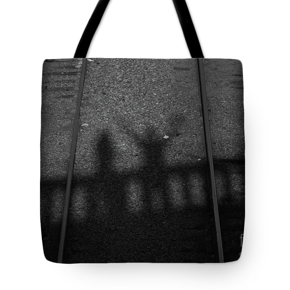 Shadow Tote Bag featuring the photograph Beware Of The Shadows Black And White by Karol Livote
